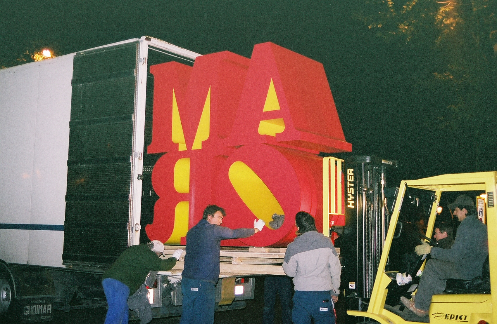 In Madrid, installing Robert Indiana's AMOR sculpture with help from our partners in Spain.
