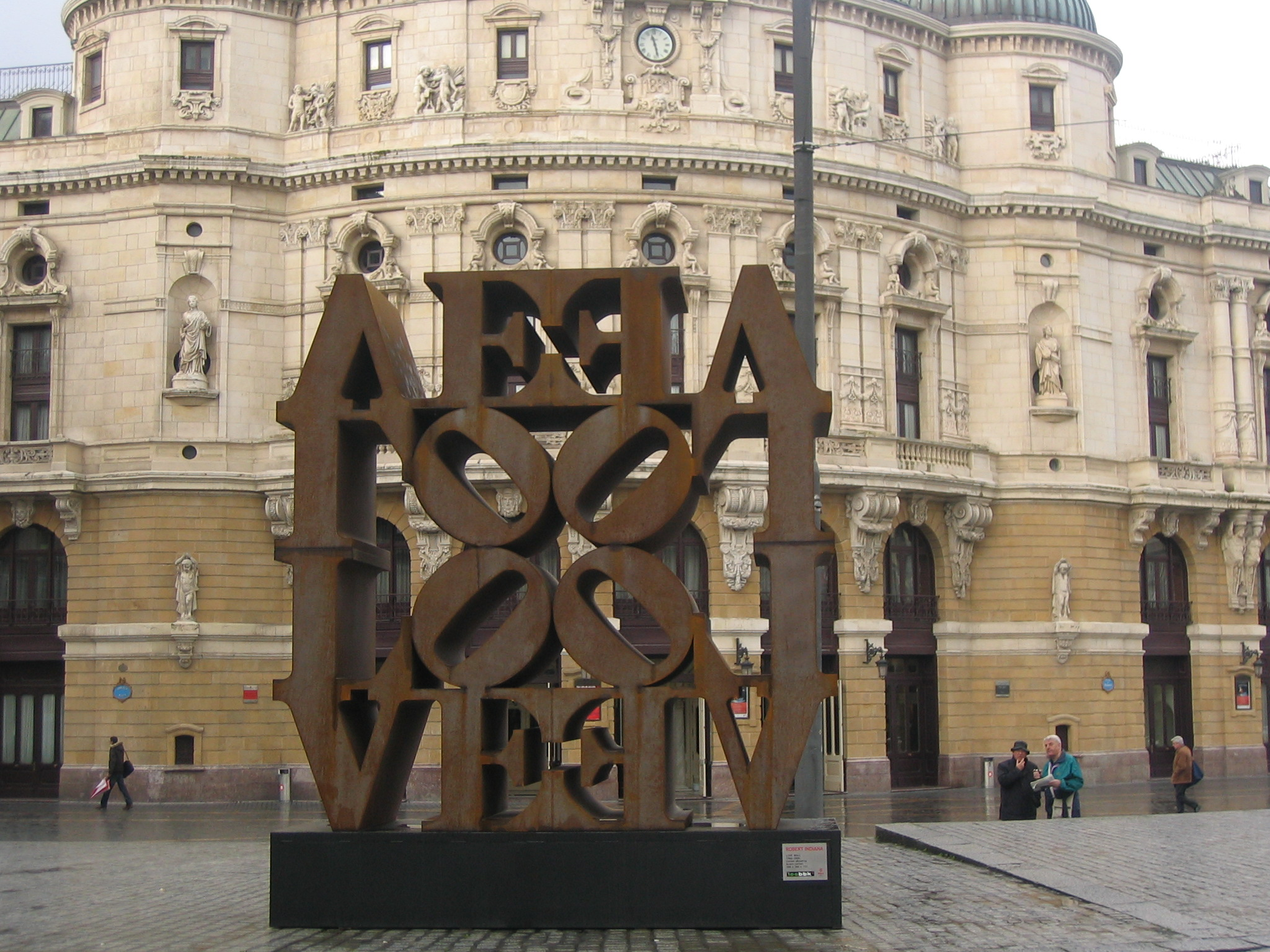 A view of Robert Indiana's LOVE WALL after its installation.