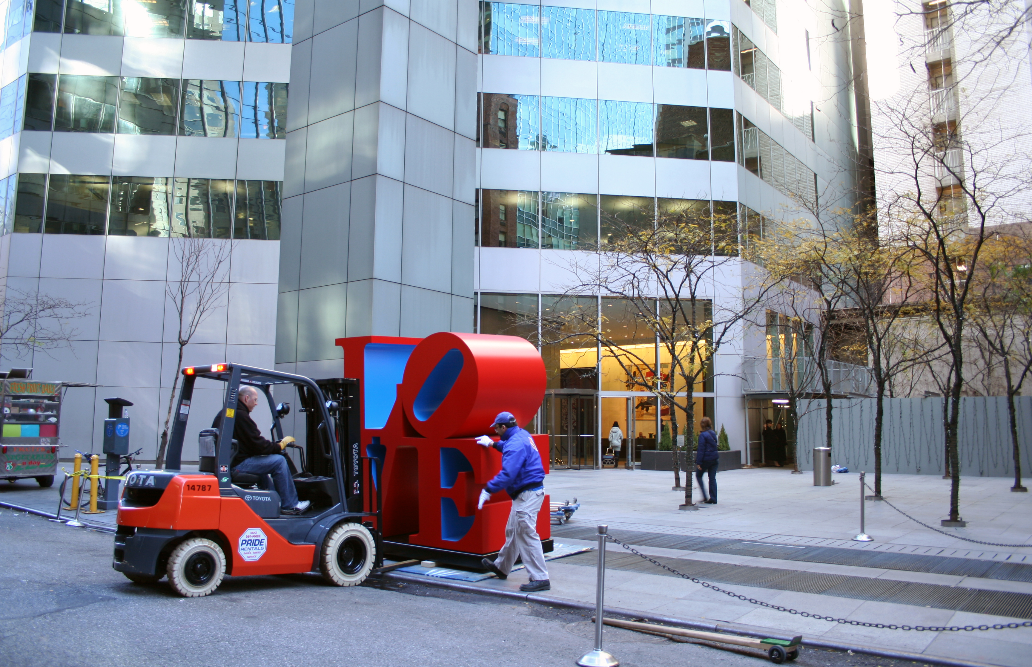 Installing Robert Indiana's famed LOVE sculpture in New York City.